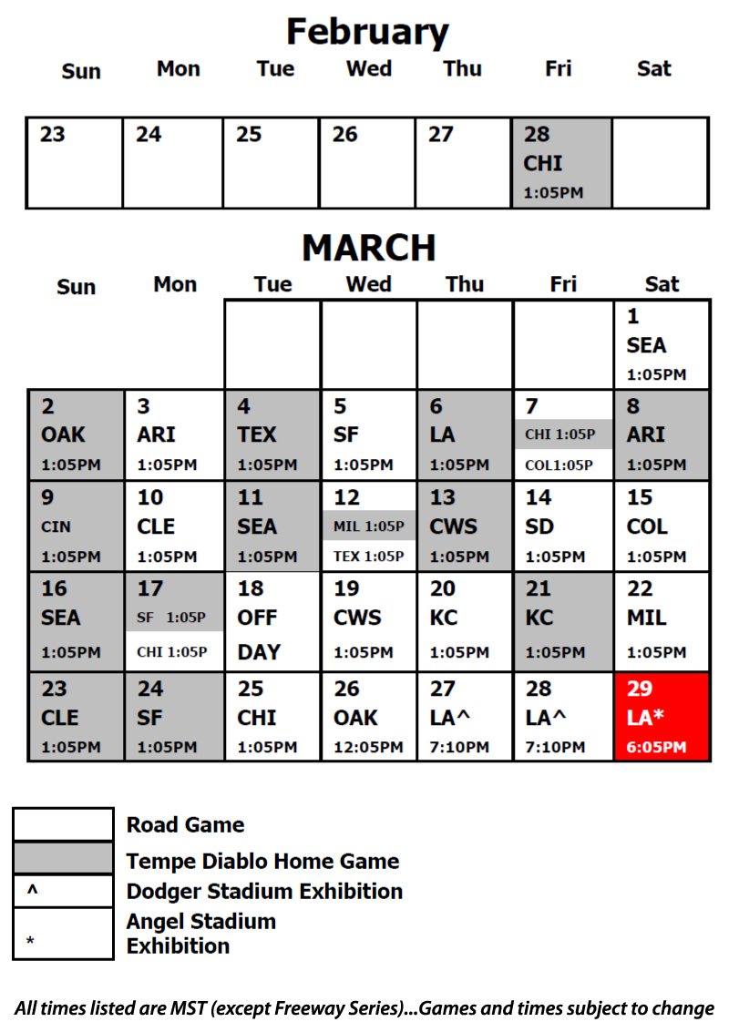 Angels Spring Training Schedule