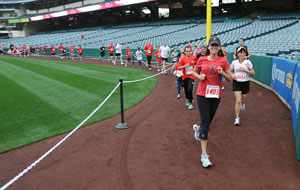 Runners go around the Warning Track at Angel Stadium