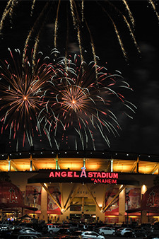 Fireworks over Angel Stadium