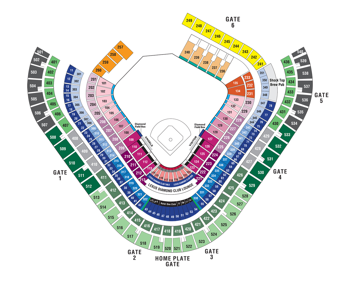 Angel Stadium seating chart Anaheim los angeles