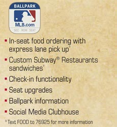 Ballpark app: In-seat food ordering with express lane pickup, Custom Subway Restaurants sandwiches, Check-in functionality, Seat upgrades, Ballpark information, Social Media Clubhouse
