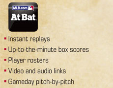 At Bat: Instant replays, Up-to-the minute box scores, Player rosters, Video and audio links, Gameday pitch-by-pitch