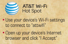 AT&T Wi-Fi Hot Spot. Use your device's Wi-Fi settings to connect to