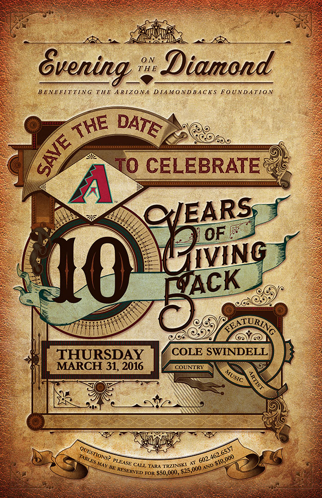 Evening on the Diamond: Save the date to celebrate 10 years of giving back Thursday, March 31, 2016 featuring country music artist Cole Swindell.