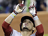 Arizona Diamondbacks' Gerardo Parra celebrates as he crosses home plate after he hit a home run on the first pitch of the first inning of a baseball game against the Miami Marlins, Saturday, May 18, 2013 in Miami. (AP Photo/Wilfredo Lee)