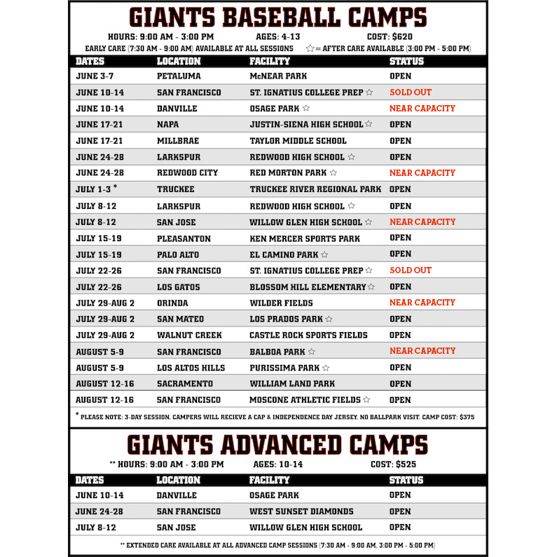 Giants Youth Camps | San Francisco Giants