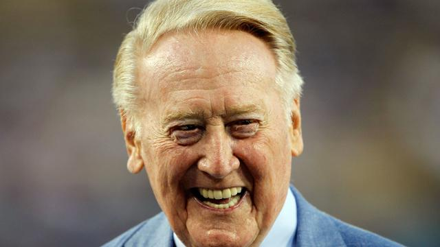 "Vin Scully is ""chafing at the bit"" to get back in the Dodgers' broadcast booth. (AP)"