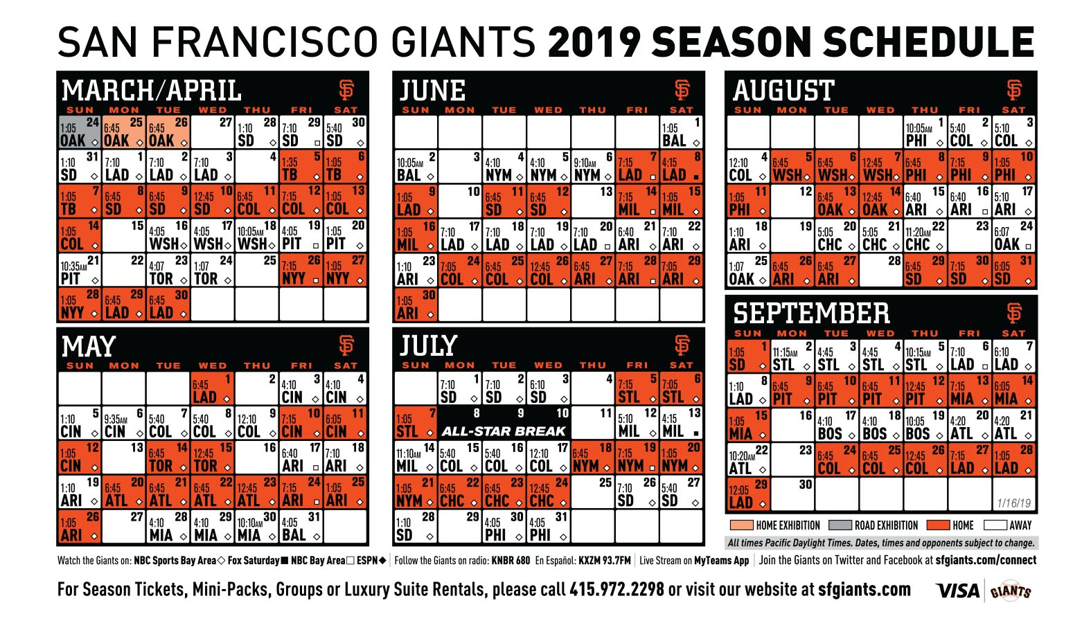 Giants 2019 Printable Schedule San Francisco Giants