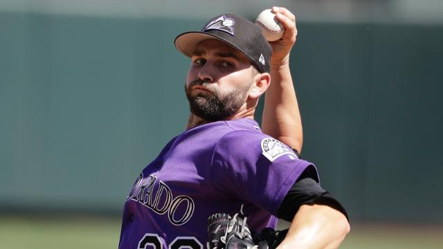 Colorado Rockies' Tyler Chatwood throws during a spring training baseball game against the Los Angeles Angels, Thursday, March 16, 2017, in Scottsdale, Ariz. (AP Photo/Darron Cummings)