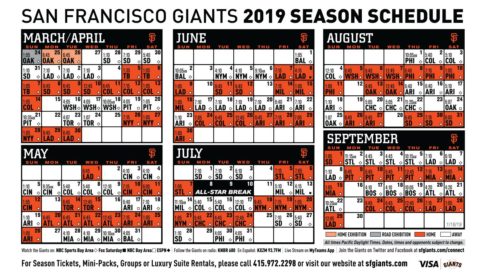 picture relating to Braves Printable Schedule named Giants 2019 Printable Plan San Francisco Giants