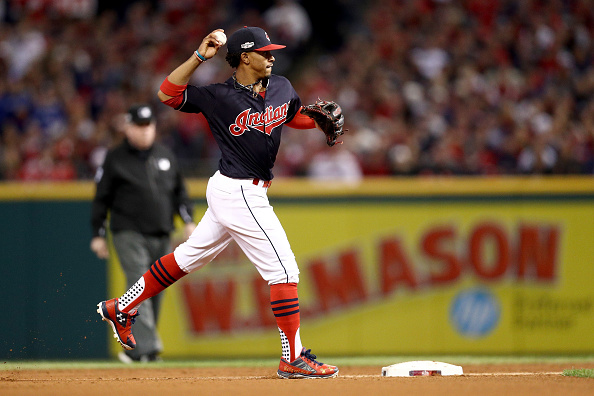 bcfc6dcd4c8e In Cleveland's 2-0 victory over Toronto in Game 1 of the ALCS on Friday,  Lindor added to his look with a pair of cleats featuring