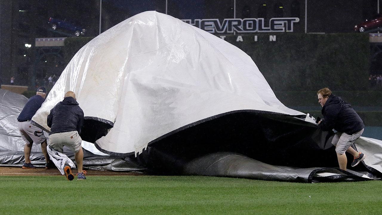 Tigers groundskeeper injured securing tarp