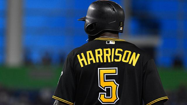 MIAMI, FL - APRIL 28: Josh Harrison #5 of the Pittsburgh Pirates on base in the second inning during the game between the Miami Marlins and the Pittsburgh Pirates at Marlins Park on April 28, 2017 in Miami, Florida. (Photo by Mark Brown/Getty Images)