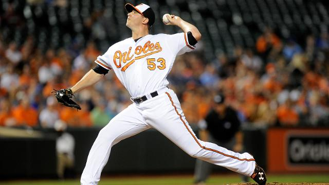BALTIMORE, MD - JUNE 06: Zach Britton #53 of the Baltimore Orioles pitches in the ninth inning against the Kansas City Royals at Oriole Park at Camden Yards on June 6, 2016 in Baltimore, Maryland. Baltimore won the game 4-1. (Photo by Greg Fiume/Getty Images)