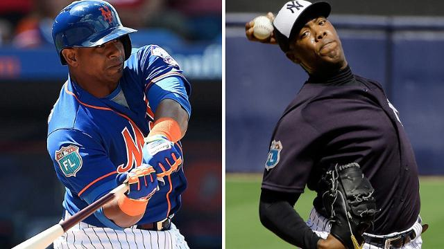 Will Yoenis Cespedes (left) or Aroldis Chapman perform a memorable feat in '16? Only time will tell.