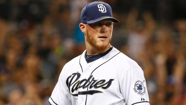 San Diego Padres closer Craig Kimbrel pumps his fist as he watches the final out of the Padres' 3-1 victory over the Miami Marlins in a baseball game Friday, July 24, 2015, in San Diego. (AP Photo/Lenny Ignelzi)