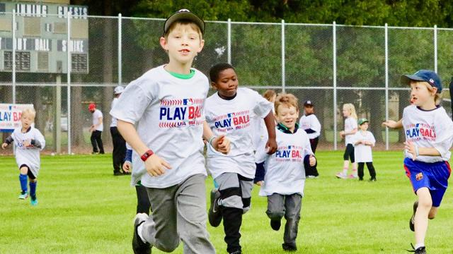Youngsters participating in Play Ball Day in Portland on Saturday.