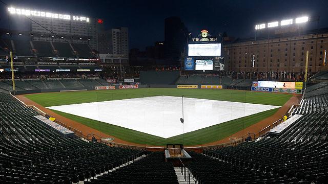 Rain, lightning postpone O's opener vs. Dodgers