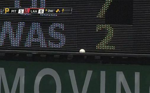 Ball stuck in scoreboard