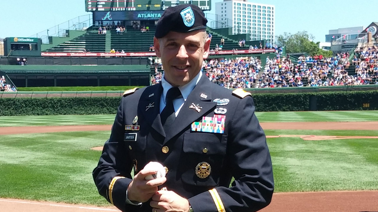 Lt. Colonel surprised with first pitch upon return