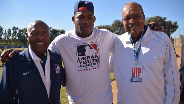 Puig makes visit to MLB Urban Youth Academy