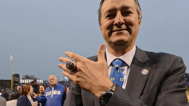 Chicago Cubs' owner Tom Ricketts shows off his ring as the team celebrates during the 2016 World Series championship ring ceremony before the team's baseball game against the Los Angeles Dodgers on Wednesday, April 12, 2017, in Chicago. (AP Photo/Matt Marton)