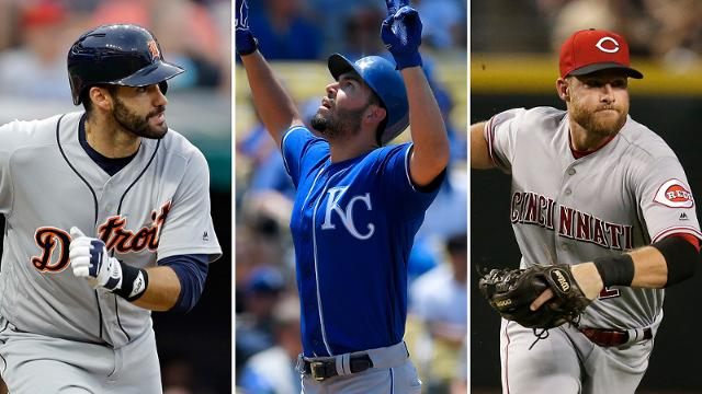 J.D. Martinez, Eric Hosmer and Zack Cozart are pending free agents who are possible trade chips. (AP)