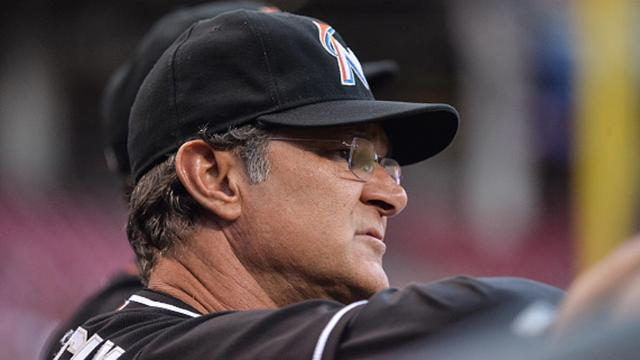 CINCINNATI, OH - AUGUST 15: Manager Don Mattingly #8 of the Miami Marlins watches his team play against the Cincinnati Reds at Great American Ball Park on August 15, 2016 in Cincinnati, Ohio. (Photo by Jamie Sabau/Getty Images)