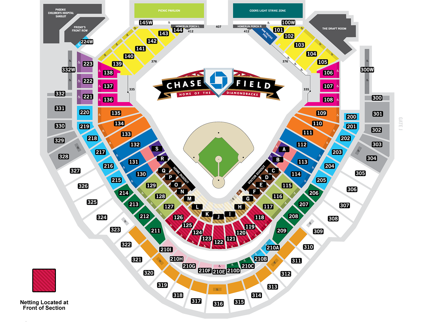 Chase field seating map mlb com