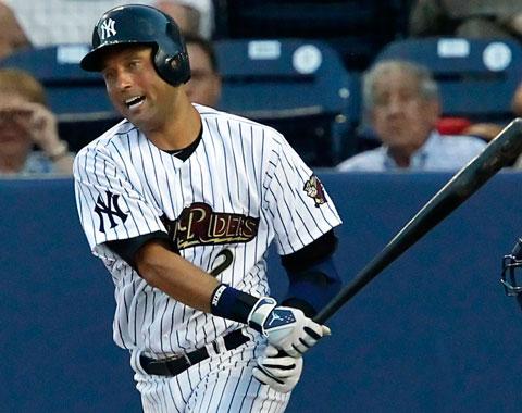 Jeter conecta primer hit en juegos de rehabilitación