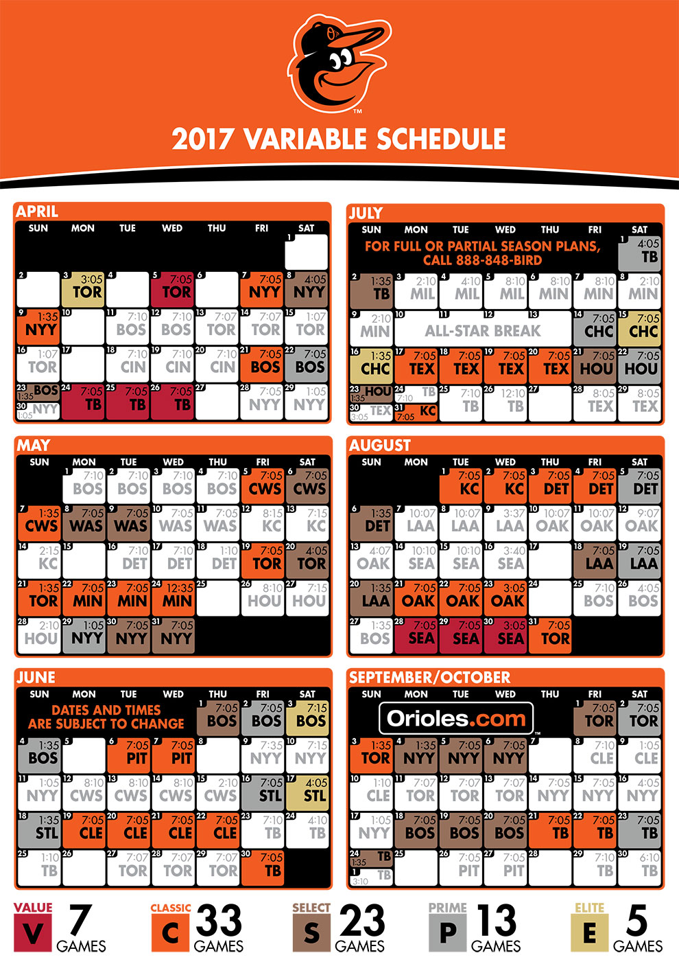 Orioles Variable Pricing Schedule
