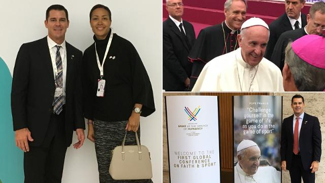 Billy Bean and Melanie LeGrande of MLB attended the Sport at the Service of Humanity Conference at the Vatican.