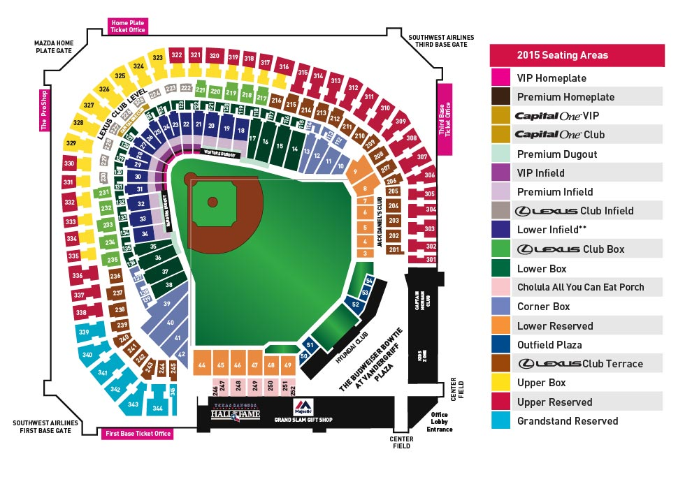 Globe life park seating chart for party for a cause texas