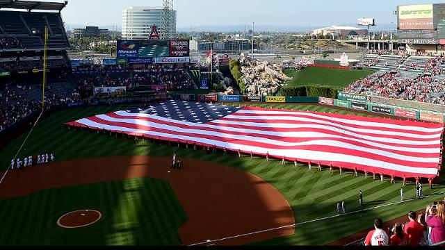 ANAHEIM, CA - MAY 30: The American flag is displayed on the field during the national anthem to celebrate Memorial Day before the game between the Detroit Tigers and the Los Angeles Angels at Angel Stadium of Anaheim on May 30, 2016 in Anaheim, California. (Photo by Harry How/Getty Images)