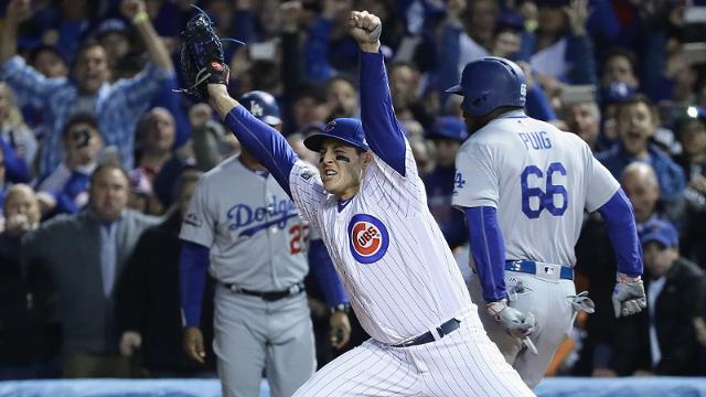 CHICAGO, IL - OCTOBER 22: Anthony Rizzo #44 of the Chicago Cubs celebrates after defeating the Los Angeles Dodgers 5-0 in game six of the National League Championship Series to advance to the World Series against the Cleveland Indians at Wrigley Field on October 22, 2016 in Chicago, Illinois. (Photo by Jonathan Daniel/Getty Images)