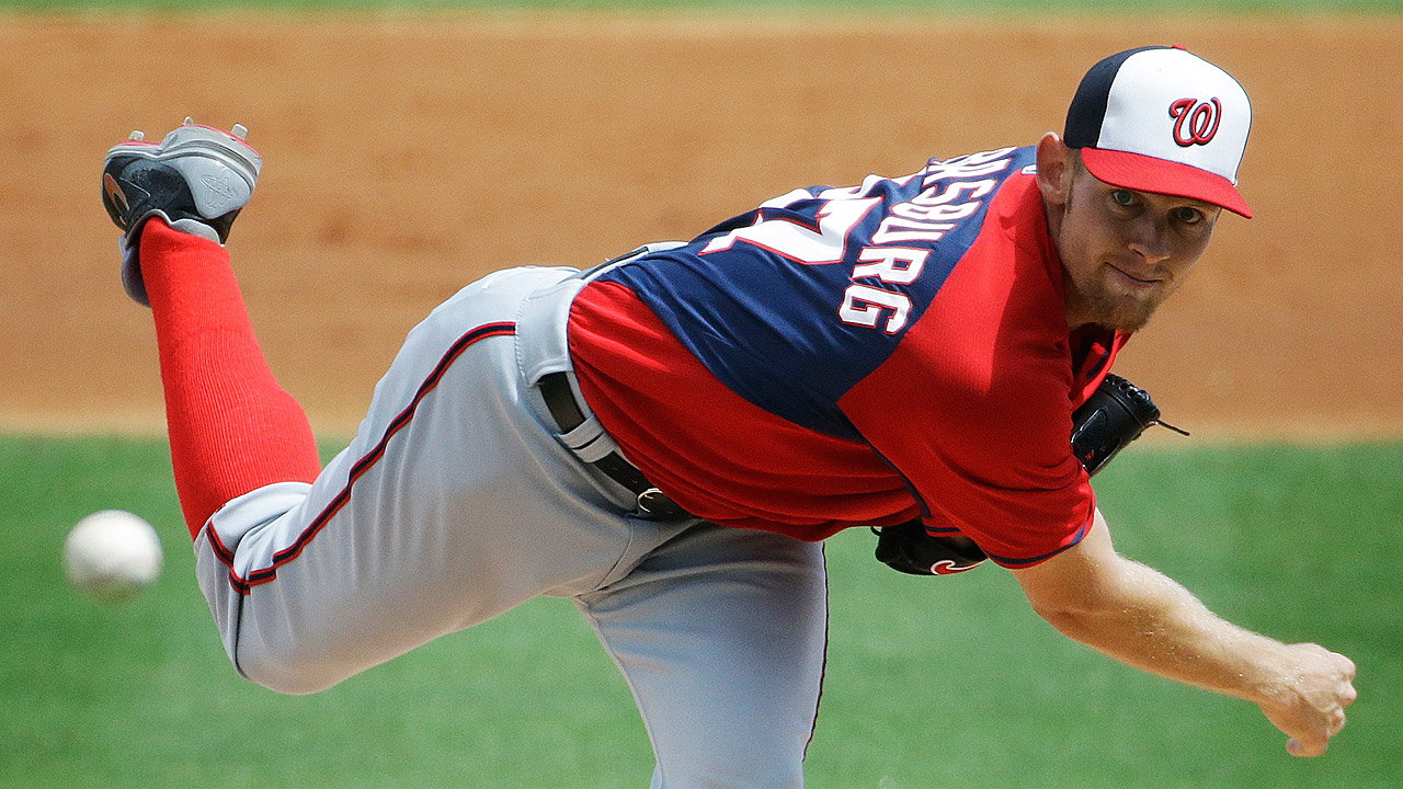 Strasburg unscored upon, with healthy bats in support