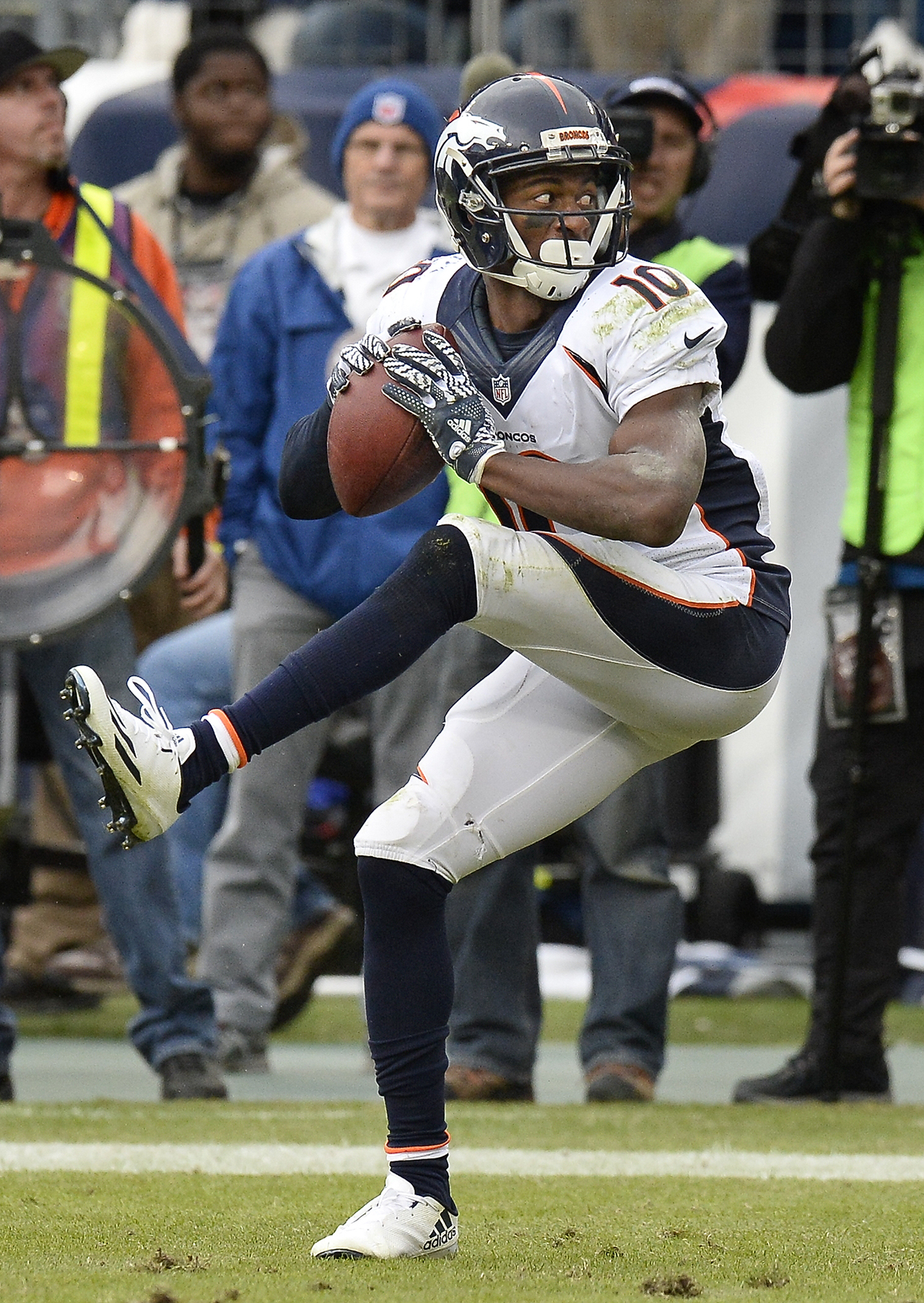 Emmanuel Sanders showed off his fastball after scoring and the