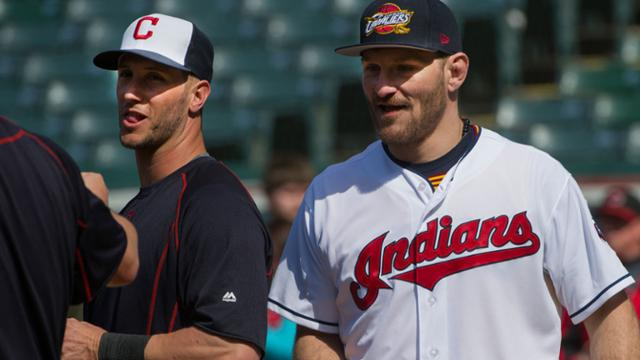 Yan Gomes and Stipe Miocic first met a few years back, at another one of Miocic's visits to the ballpark. (AP)