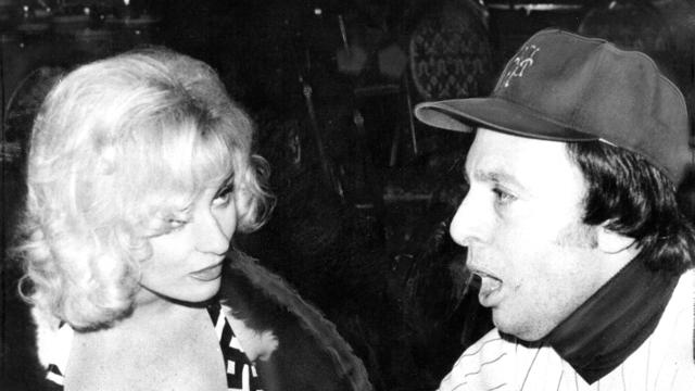 Actress Lee Meredith with Phil Pepe at a New York baseball writers dinner in the 1970s.