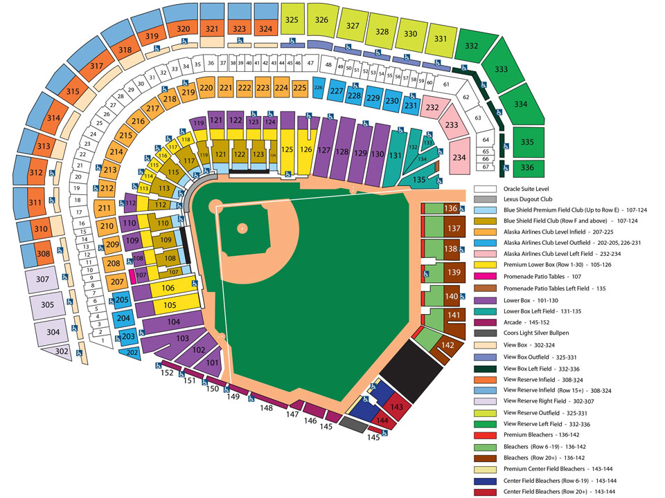 At T Park Seating Chart San Francisco Giants