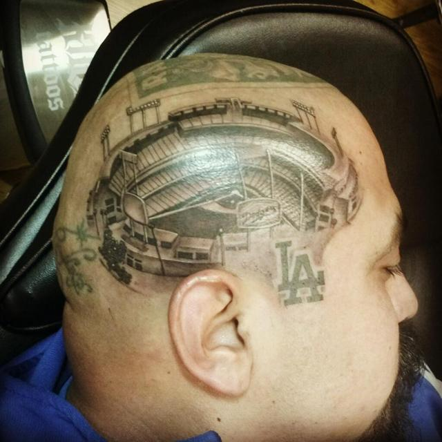 This Dodgers fan has the best (only?) head tattoo you've seen today