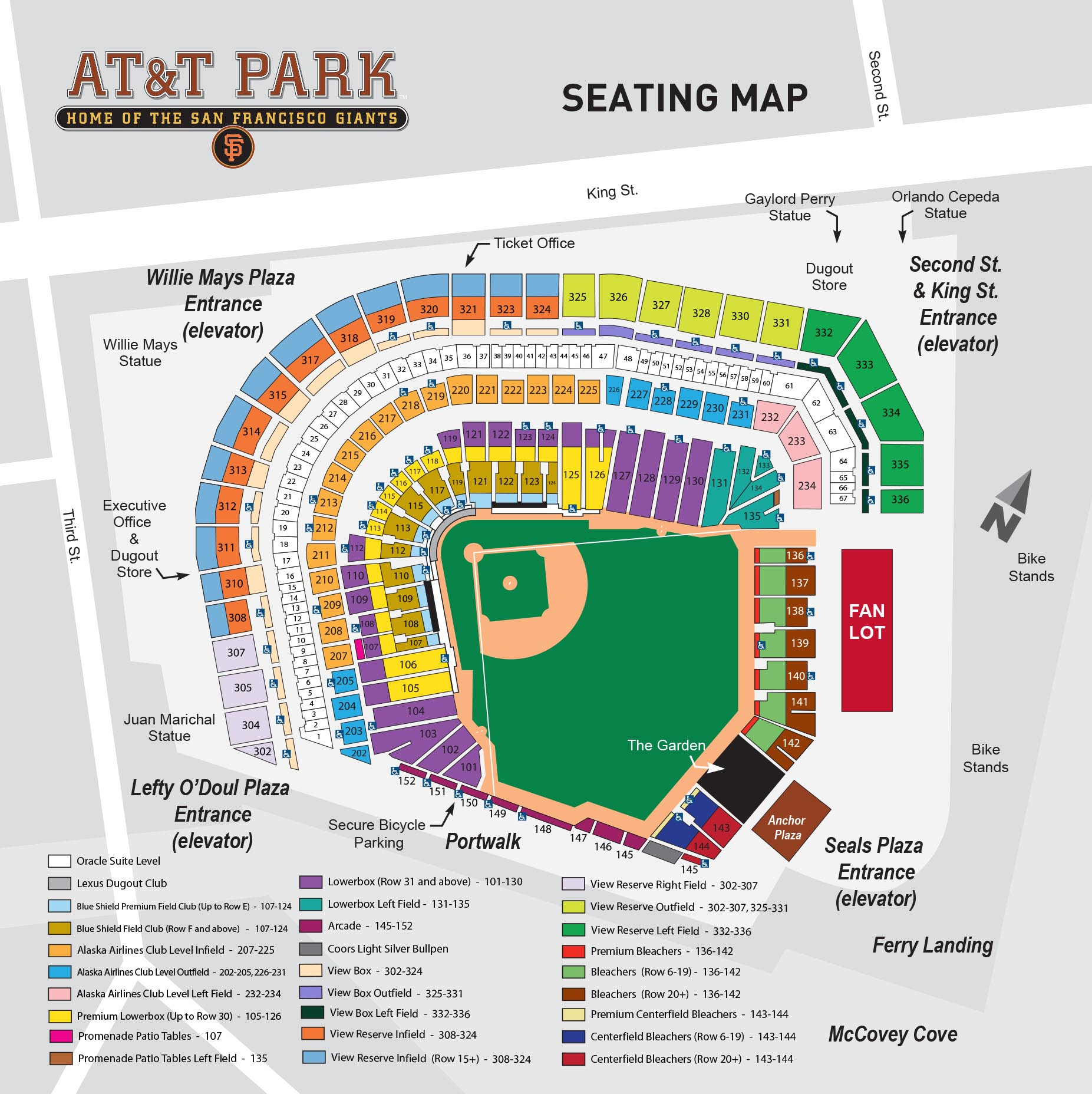 AT&T Park Seating Map