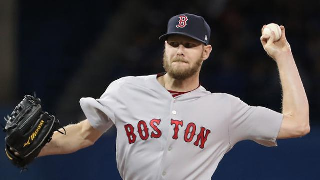 TORONTO, ON - APRIL 26: Chris Sale #41 of the Boston Red Sox delivers a pitch in the first inning during MLB game action against the Toronto Blue Jays at Rogers Centre on April 26, 2018 in Toronto, Canada. (Photo by Tom Szczerbowski/Getty Images)