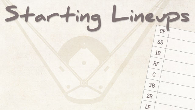 Today's MLB starting lineups: June 26