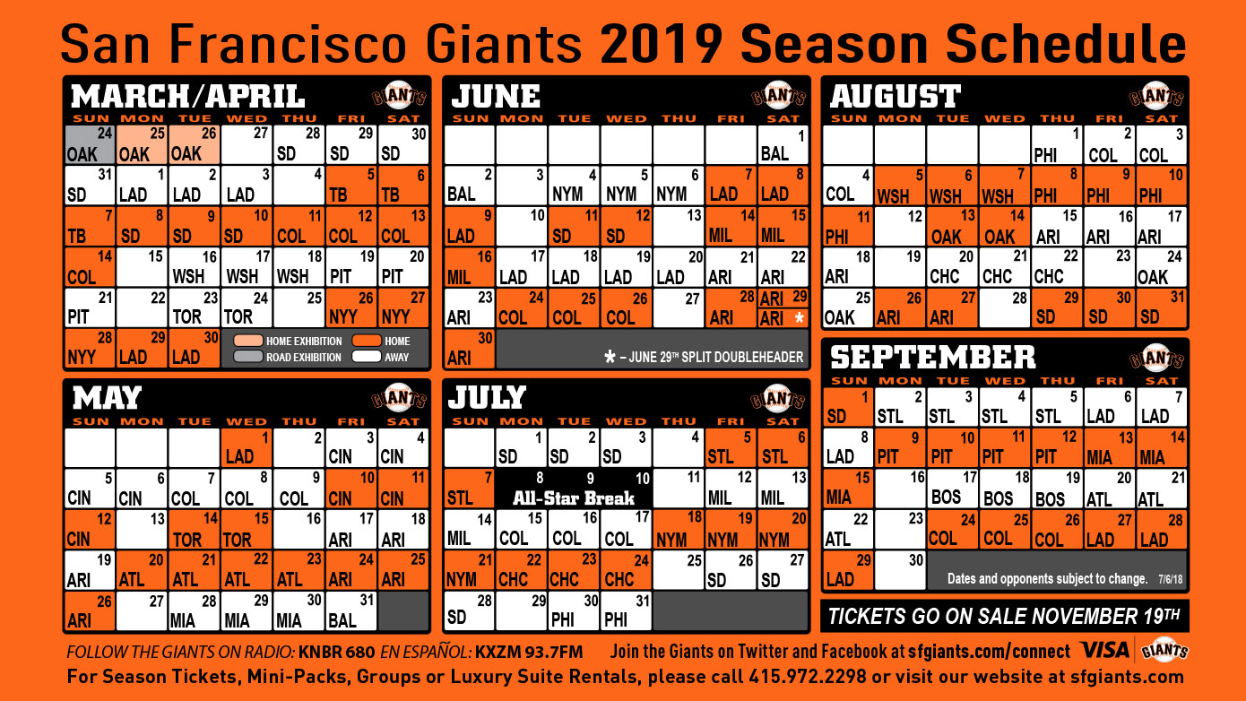 It's just a picture of Epic Sf Giants Schedule Printable