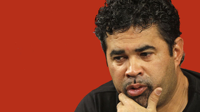 Chicago White Sox manager Ozzie Guillen ponders a question during his news conference Saturday, Oct. 4, 2008, in Chicago. The White Sox host the Tampa Bay Rays in Game 3 of the American League division baseball series Sunday. (AP Photo/M. Spencer Green)