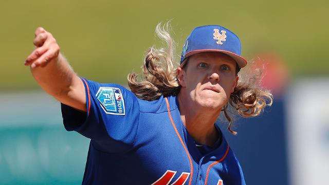 New York Mets starting pitcher Noah Syndergaard (34) works against the Washington Nationals during a spring training baseball game Thursday, March 8, 2018, in West Palm Beach, Fla. (AP Photo/John Bazemore)