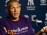 Joe Girardi wears the T-shirt sponsoring a particular charity into his daily pregame media conference.