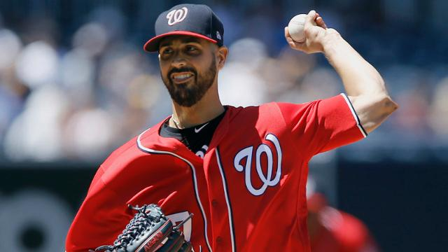 Washington Nationals starting pitcher Gio Gonzalez throws to the plate against the San Diego Padres during the first inning of a baseball game in San Diego, Sunday, Aug. 20, 2017. (AP Photo/Alex Gallardo)