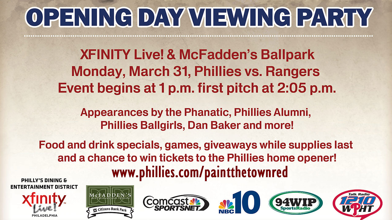 Phillies to host Opening Day viewing party for fans